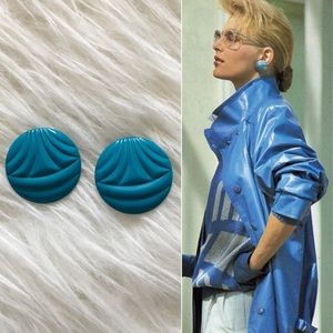 '80s / Teal Disc Earrings